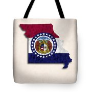 Missouri Map Art With Flag Design Tote Bag