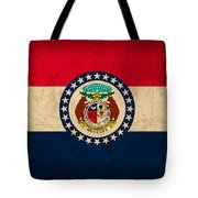 Missouri State Flag Art On Worn Canvas Tote Bag
