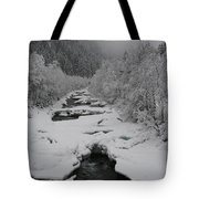 Mist Above The Creek Tote Bag