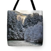 Mist And Snow On Trees Tote Bag