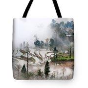 Mist And Village Tote Bag