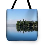Mist On Lake Of Two Rivers Tote Bag