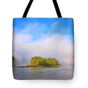 Mist Rising On The Willamette River Tote Bag