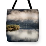 Mists And Bridge Over Klamath Tote Bag