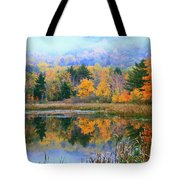 Misty Autumn Pond  Tote Bag