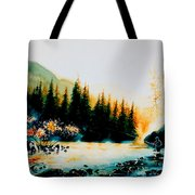 Misty Fishing Morning Tote Bag