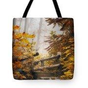 Misty Footbridge Tote Bag