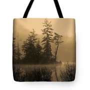 Misty Lake And Trees Silhouette Tote Bag