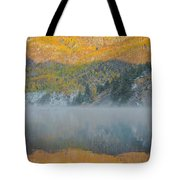 Misty Lake With Aspen Trees Tote Bag