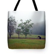 Misty Morning At The Farm Tote Bag
