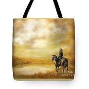 Misty Morning Horseback Ride Tote Bag