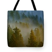 Misty Morning In The Pines Tote Bag