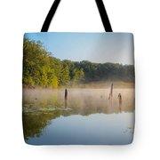 Misty Morning Lake Tote Bag