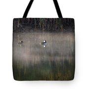 Misty Morning Mergansers Tote Bag