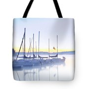 Misty Morning Sailboats Tote Bag