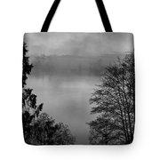 Misty Morning Sunrise Black And White Art Prints Tote Bag
