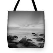 Misty Rocks Bw Tote Bag