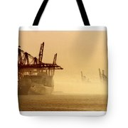 Misty Seattle Waterfront Tote Bag