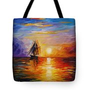 Misty Ship - Palette Knife Oil Painting On Canvas By Leonid Afremov Tote Bag