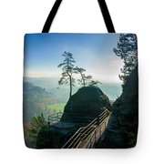 Misty Sunrise On Neurathen Castle Tote Bag