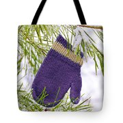 Mitten In Snowy Pine Tree Tote Bag