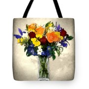 Mixed Bouquet Of Tropical Colored Flowers On Textured Vignette Oil Painting Tote Bag