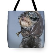 Mixed Breed Dog Dressed In Leather Cap Tote Bag