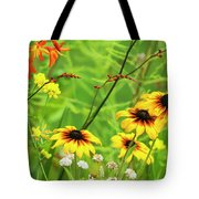 Mixed Flowers Bloom In A Garden Tote Bag