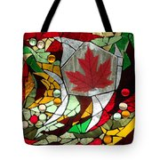Mosaic  Stained Glass - Canadian Maple Leaf Tote Bag