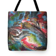 Mobie Joe The Whale-original Abstract Whale Painting Acrylic Blue Red Green Tote Bag