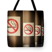 Mobile Photography Toned Row Of No Smoking Signs Tote Bag