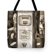 Mobilgas Special - Tokheim Pump  - Sepia Tote Bag by Mike McGlothlen