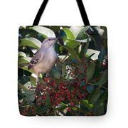 Mocking Bird And Berries Tote Bag