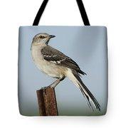 Mocking Bird On A Metal Post Tote Bag