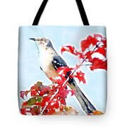 Mockingbird In The Leaves - Watercolor Tote Bag