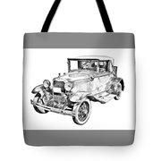 Model A Ford Roadster Antique Car Illustration Tote Bag