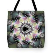 Modern Abstract Fractal Art Metallic Colors Square Format Tote Bag
