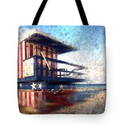 Modern-art Miami Beach Watchtower Tote Bag