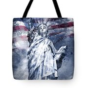 Modern Art Statue Of Liberty Blue Tote Bag