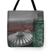 Modern Building With Autumn Forest Tote Bag