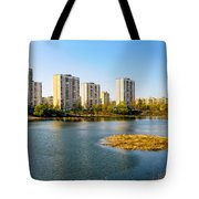 Modern Buildings Close To The Pond Tote Bag