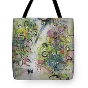 Modern Spring Blossom Art Painting Flower Butterfly Art Acrylic Ink Rice Paper Green Yellow Pink Sjk Tote Bag