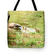 Mom And Babies Swimming Tote Bag