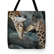 Mom And Baby Giraffe Tote Bag