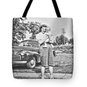 Mom Child And Car Tote Bag
