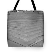 Moma Stairs In Black And White Tote Bag