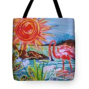 Momma And Baby Flamingo Chillin In A Blue Lagoon  Tote Bag