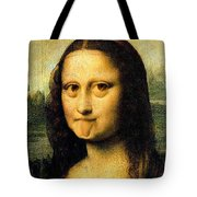Mona Lisa Making Faces Tote Bag