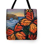 Monarch Butterflies At Natural Bridges Tote Bag by Jen Norton