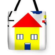 Mondrian Child Landscape Drawing Tote Bag